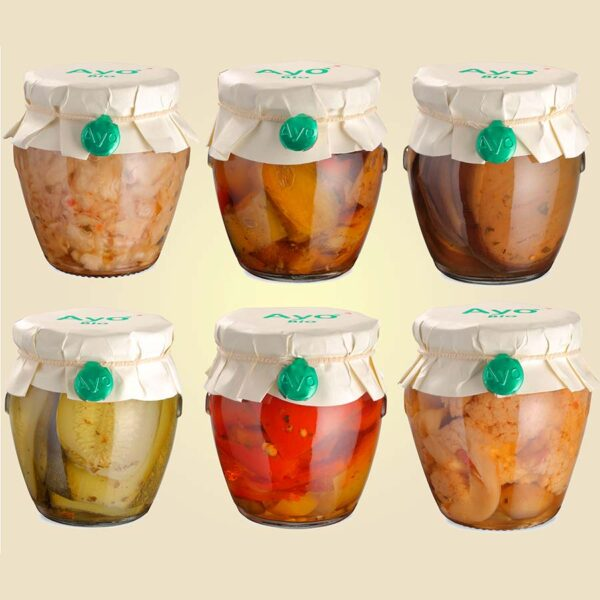 Peperoni in olio, melanzane in olio, zucchine in olio, cavolo in olio, cavolfiori in olio, ortaggi in olio, verdure in olio, conserve, artigianali, sarde, biologiche, ayo