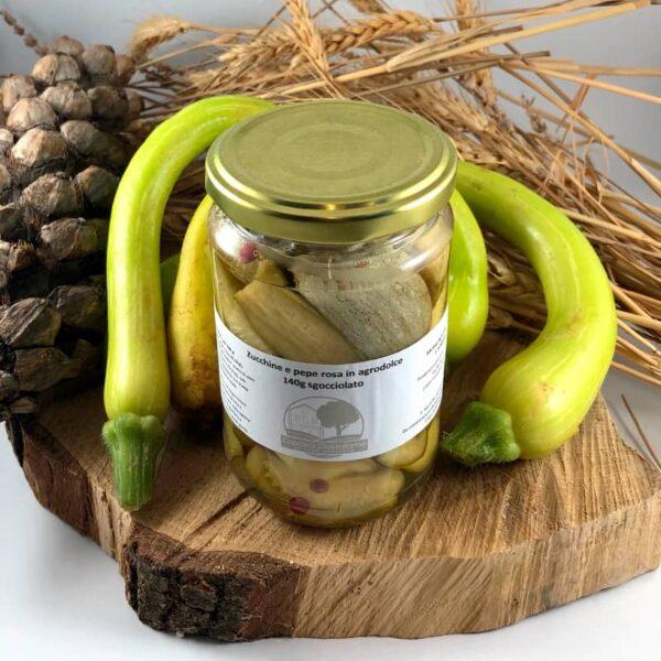Zucchine e pepe rosa in agrodolce, zucchine, pepe rosa, conserva, conserve italiane, azienda agricola, Cascina Guzzafame, Lombardia